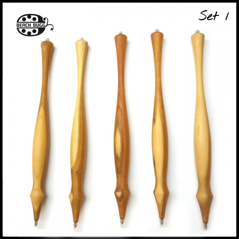 5 egyedi fa toll M2.5 menettel, bársony tasakkal
