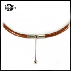 Luca leather necklace - 5mm - dark brown