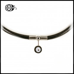 Luca leather necklace - 5mm -Cabochon - black