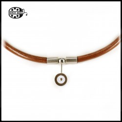 Luca leather necklace - 5mm - Cabochon - dark brown