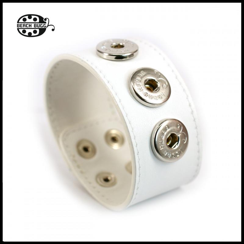 Chunk leather bracelet - wide - white