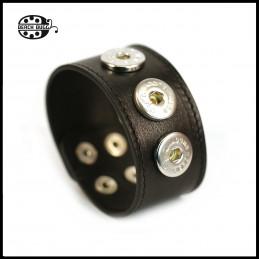Chunk Leder Armband - schwarz