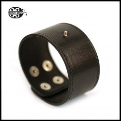 cabochon leather bracelet black
