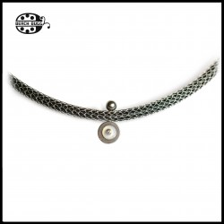 Mesh teel necklace - 5mm black - cabochon