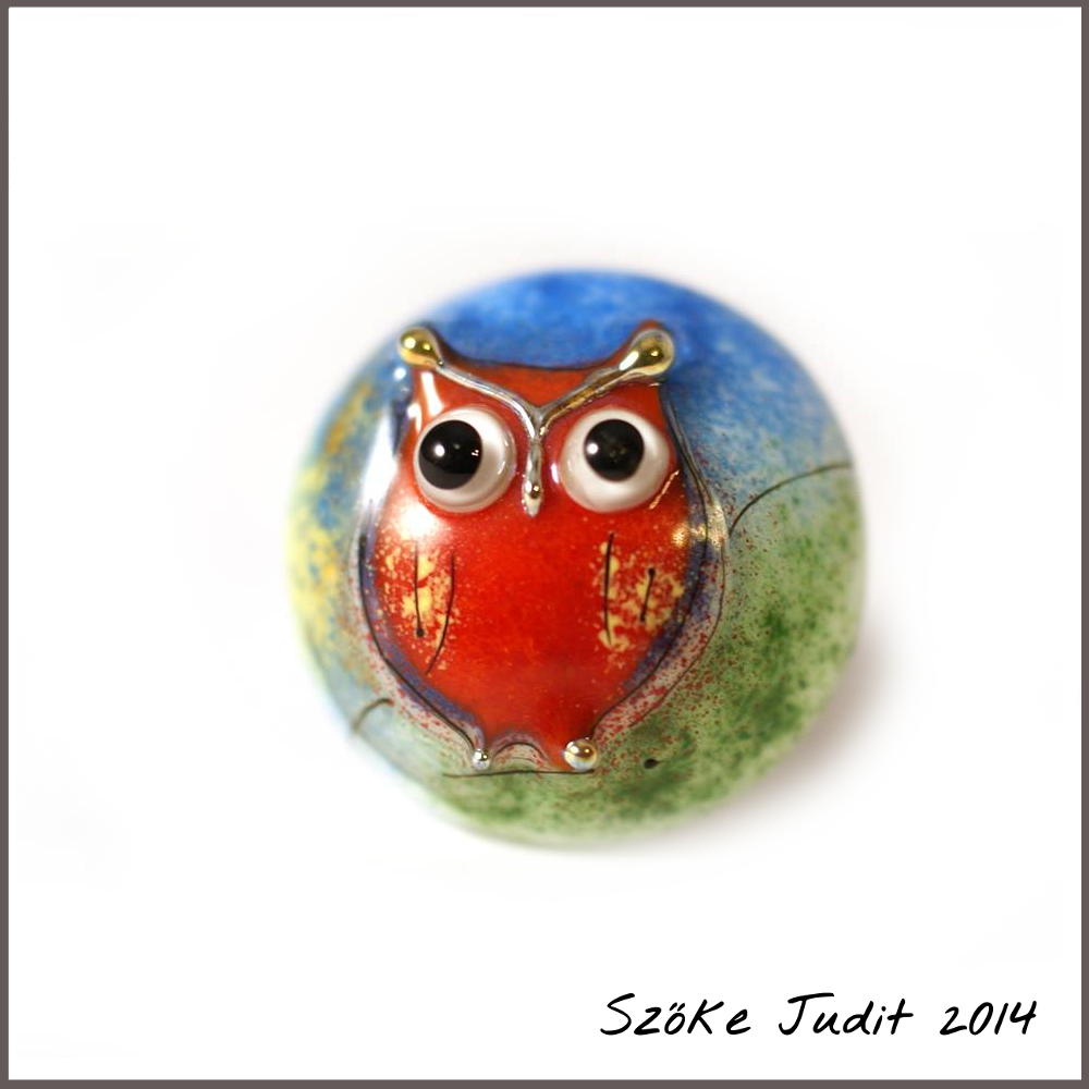 owl glass cabochon