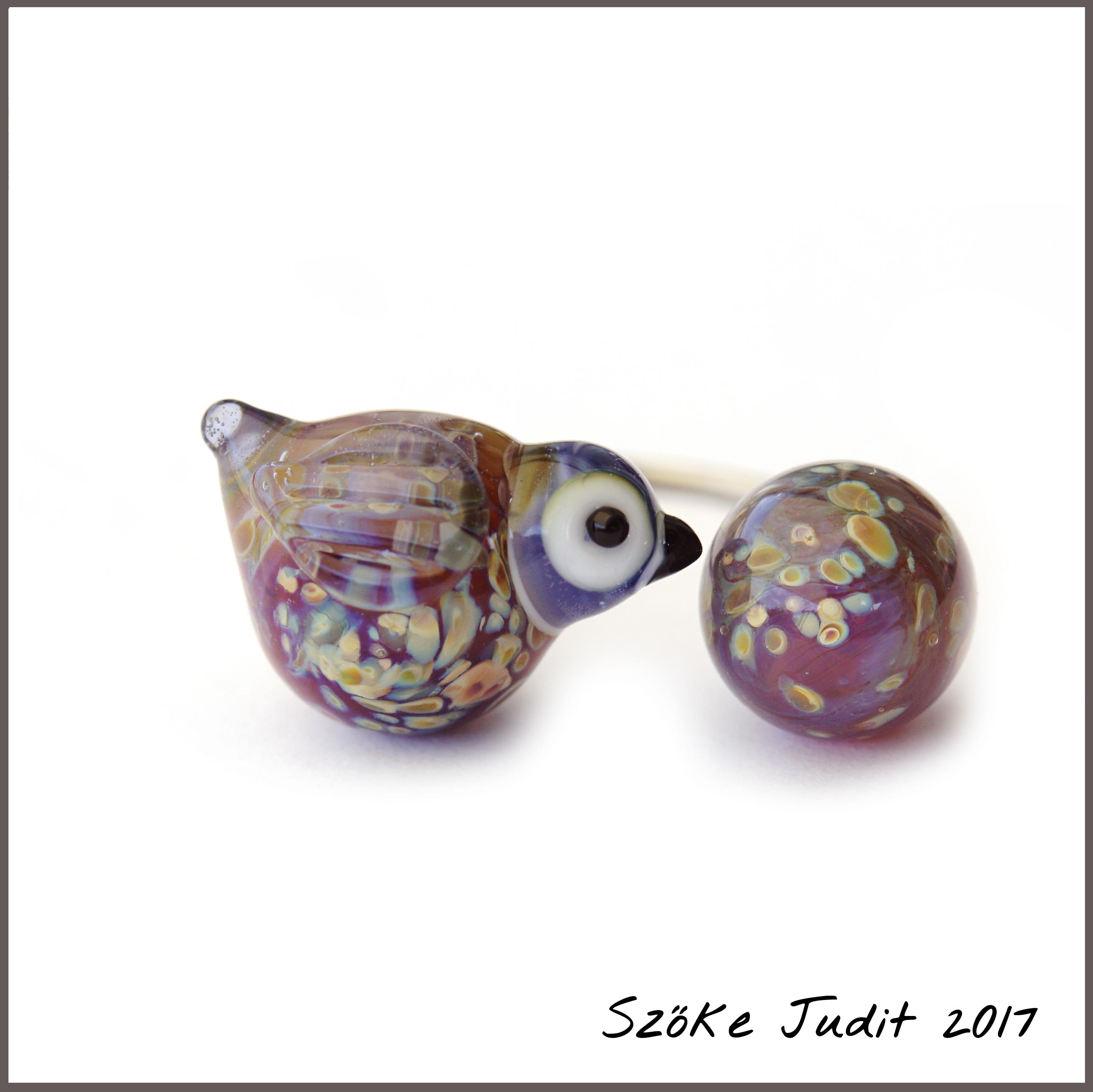 Szőke Judit madár üveggyűrű